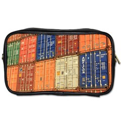 Blue White Orange And Brown Container Van Toiletries Bags