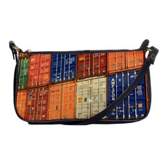 Blue White Orange And Brown Container Van Shoulder Clutch Bags