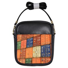 Blue White Orange And Brown Container Van Girls Sling Bags