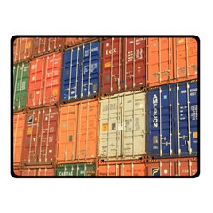 Blue White Orange And Brown Container Van Fleece Blanket (small)