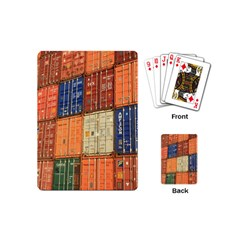 Blue White Orange And Brown Container Van Playing Cards (mini)