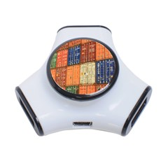 Blue White Orange And Brown Container Van 3 Port Usb Hub
