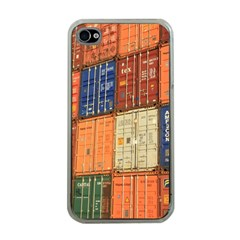 Blue White Orange And Brown Container Van Apple Iphone 4 Case (clear)