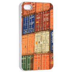 Blue White Orange And Brown Container Van Apple Iphone 4/4s Seamless Case (white)