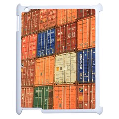 Blue White Orange And Brown Container Van Apple Ipad 2 Case (white)