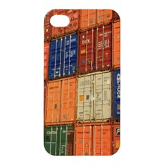 Blue White Orange And Brown Container Van Apple Iphone 4/4s Premium Hardshell Case