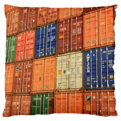 Blue White Orange And Brown Container Van Large Cushion Case (one Side)