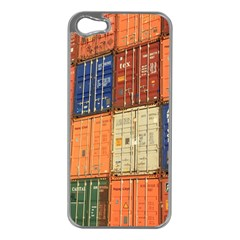 Blue White Orange And Brown Container Van Apple Iphone 5 Case (silver)