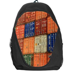 Blue White Orange And Brown Container Van Backpack Bag