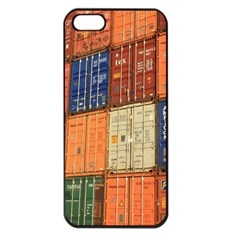 Blue White Orange And Brown Container Van Apple Iphone 5 Seamless Case (black)