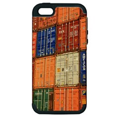 Blue White Orange And Brown Container Van Apple Iphone 5 Hardshell Case (pc+silicone)