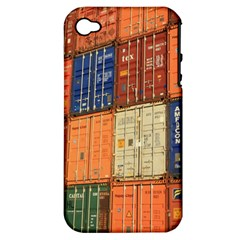 Blue White Orange And Brown Container Van Apple Iphone 4/4s Hardshell Case (pc+silicone)