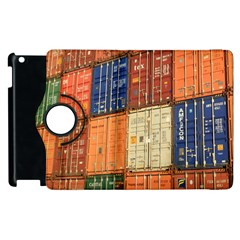 Blue White Orange And Brown Container Van Apple Ipad 3/4 Flip 360 Case