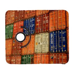Blue White Orange And Brown Container Van Galaxy S3 (flip/folio)