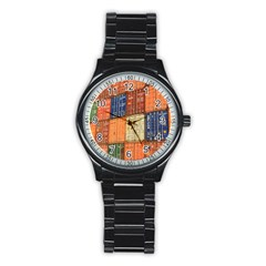 Blue White Orange And Brown Container Van Stainless Steel Round Watch