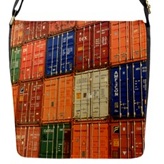 Blue White Orange And Brown Container Van Flap Messenger Bag (s)