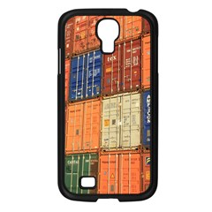 Blue White Orange And Brown Container Van Samsung Galaxy S4 I9500/ I9505 Case (black)