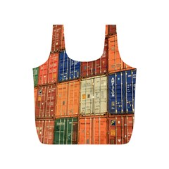 Blue White Orange And Brown Container Van Full Print Recycle Bags (s)