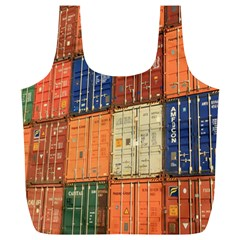 Blue White Orange And Brown Container Van Full Print Recycle Bags (l)
