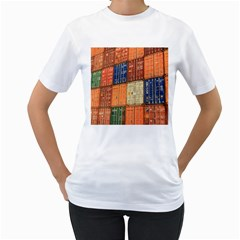 Blue White Orange And Brown Container Van Women s T Shirt (white)