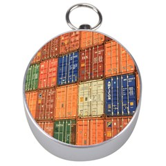 Blue White Orange And Brown Container Van Silver Compasses
