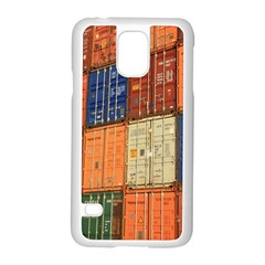 Blue White Orange And Brown Container Van Samsung Galaxy S5 Case (white)