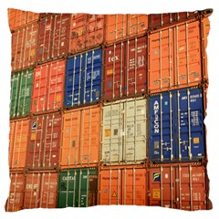 Blue White Orange And Brown Container Van Large Flano Cushion Case (two Sides)