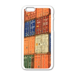 Blue White Orange And Brown Container Van Apple Iphone 6/6s White Enamel Case