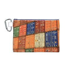 Blue White Orange And Brown Container Van Canvas Cosmetic Bag (m)