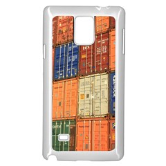 Blue White Orange And Brown Container Van Samsung Galaxy Note 4 Case (white)