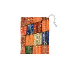 Blue White Orange And Brown Container Van Drawstring Pouches (XS)