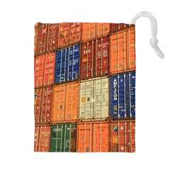 Blue White Orange And Brown Container Van Drawstring Pouches (extra Large)