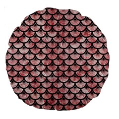 Scales3 Black Marble & Red & White Marble (r) Large 18  Premium Round Cushion