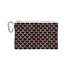 Scales3 Black Marble & Red & White Marble Canvas Cosmetic Bag (small)