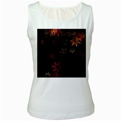 Christmas Background Motif Star Women s White Tank Top