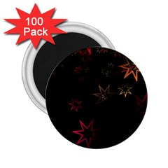 Christmas Background Motif Star 2 25  Magnets (100 Pack)