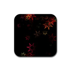 Christmas Background Motif Star Rubber Coaster (square)