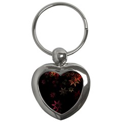 Christmas Background Motif Star Key Chains (heart)
