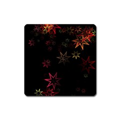Christmas Background Motif Star Square Magnet