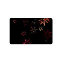Christmas Background Motif Star Magnet (Name Card)