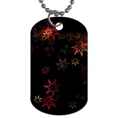 Christmas Background Motif Star Dog Tag (one Side)