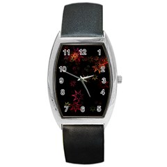 Christmas Background Motif Star Barrel Style Metal Watch