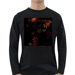 Christmas Background Motif Star Long Sleeve Dark T Shirts