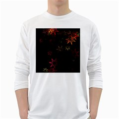 Christmas Background Motif Star White Long Sleeve T Shirts