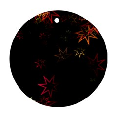 Christmas Background Motif Star Round Ornament (two Sides)
