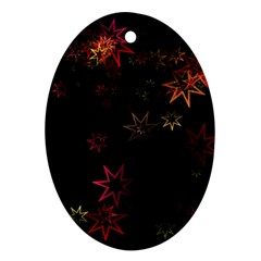 Christmas Background Motif Star Oval Ornament (two Sides)