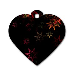 Christmas Background Motif Star Dog Tag Heart (two Sides)