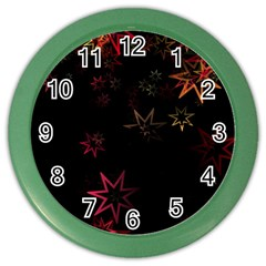 Christmas Background Motif Star Color Wall Clocks