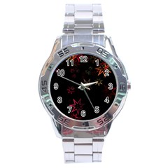 Christmas Background Motif Star Stainless Steel Analogue Watch