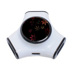 Christmas Background Motif Star 3 Port Usb Hub